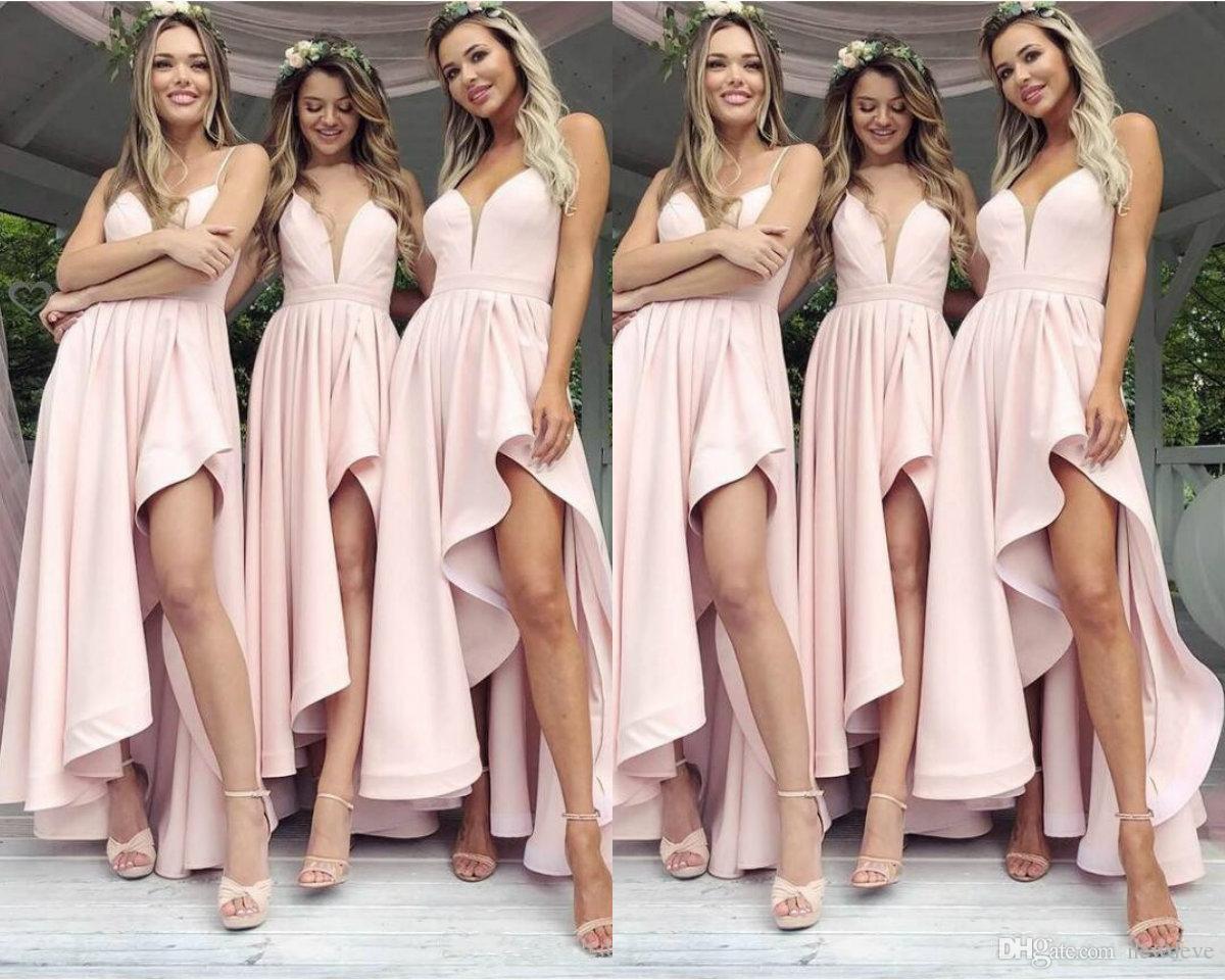 Compre Modernos Vestidos De Damas De Honor De Color Rosa 2019 Para Bodas Occidentales De Longitud Asimétrica Una Línea De Correas Espaguetis Volantes