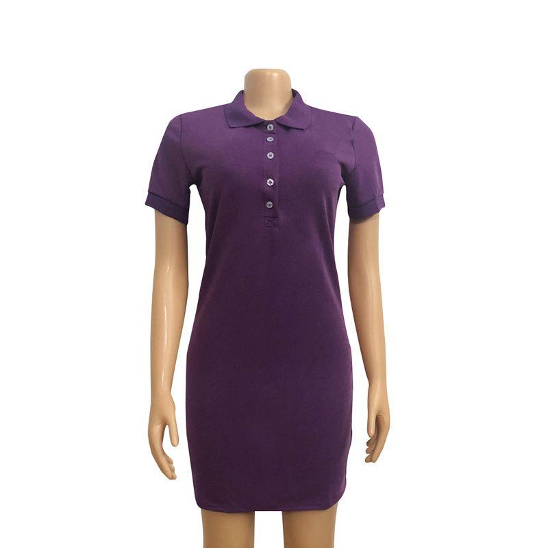 Bayan Elbiseler Timsah Polo Elbise Nakış Dekorasyon Kadınlar Rahat Yaz Yaka Boyun