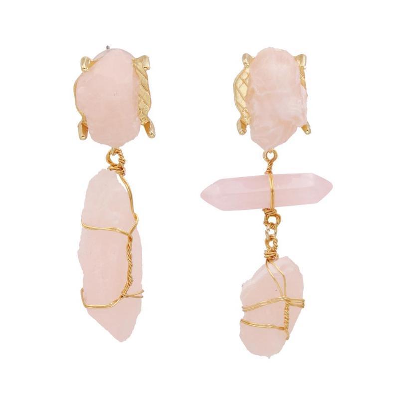 European romantic pink irregular stone earrings metal handmade string pendant earrings modern fashion accessories