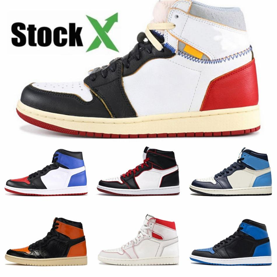 Jumpman 1 1S Basketball Shoes Bred Royal Black Toe Pine Green Court Purple White Unc Patent Chicago Mens Designer Sneakers Sports Train#QA901
