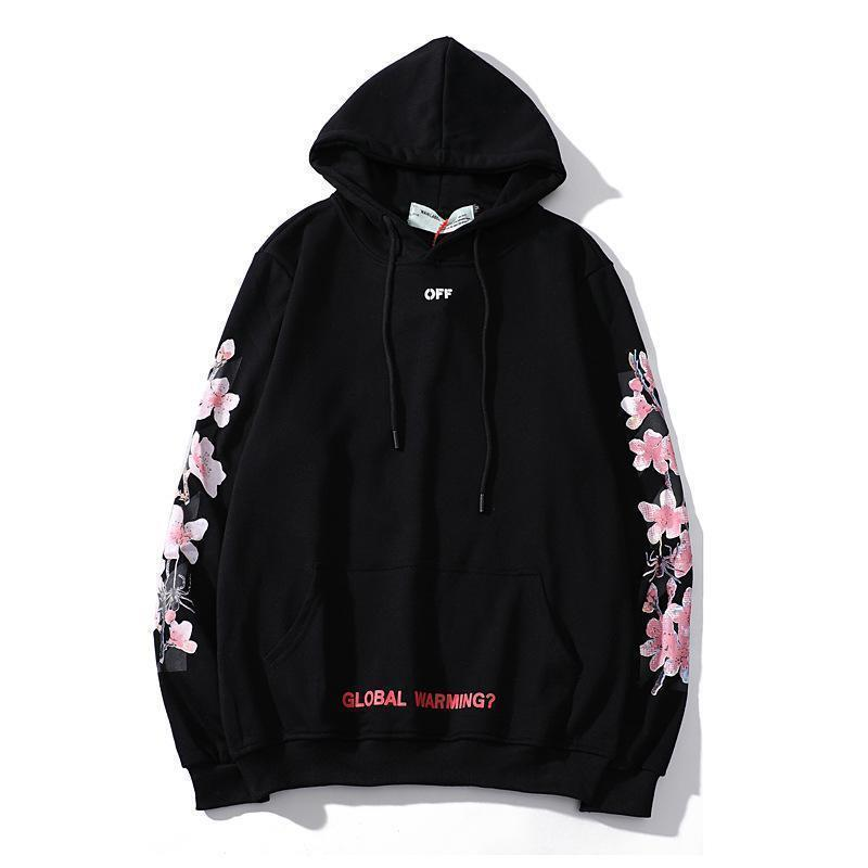 2019Pullover Hoodies Black Cherry blossoms Printed Mark Hooded Long-Sleeper Men's Sweater