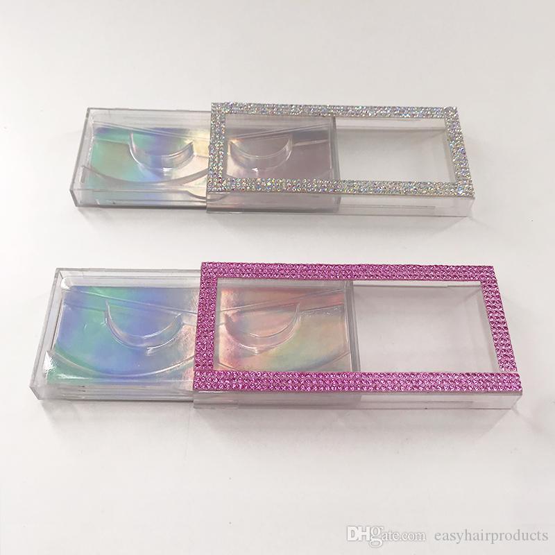 밍크 속눈썹 라인 석 속눈썹 케이스 자연 긴 전체 지구 아이 래쉬 핑크 다이아몬드 래쉬 박스 비우기