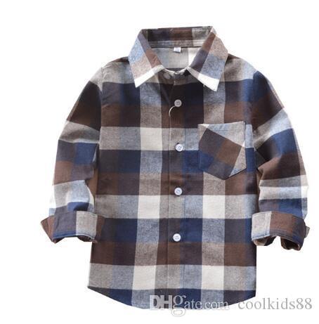 Горячие продажи мальчики рубашки классический повседневный плед фланель Детские рубашки для 1-5 лет дети мальчик одежда