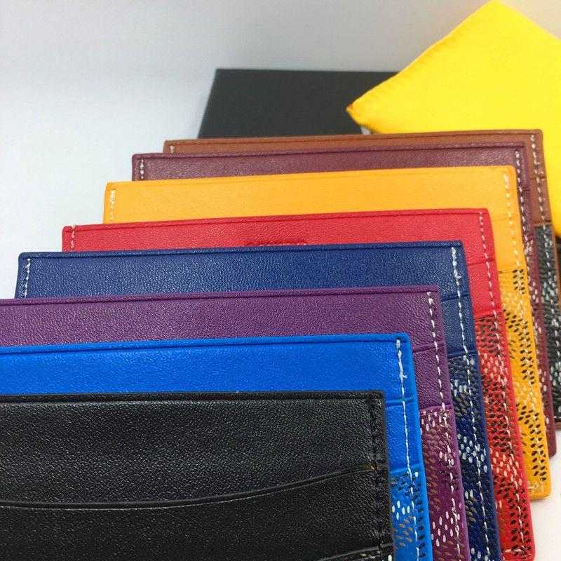 GO 2019 Mujeres delgadas cartera de cuero de los hombres de los monosharbes del cad Tarjeta de crédito del banco de los hombres de negocios Paquete de la tarjeta de bus con caja ID Tarjeta Caja Coin Pocket