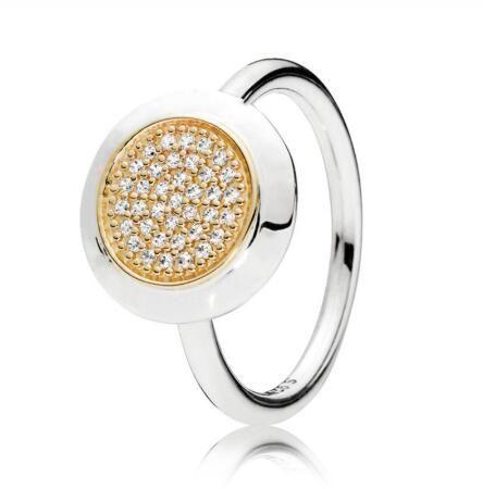 الأصلي 925 الذهب والفضة تمهيد شعار التوقيع مع خواتم كريستال للمجوهرات باندورا المرأة حفل زفاف هدية الموضة