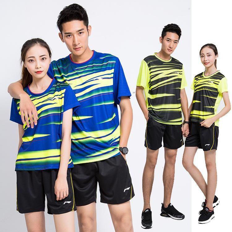 Новый Li-Ning бадминтон спортивная футболка + шорты, бадминтон трикотажных изделий одежды, тенис, настольный Мужчина для тенниса спортивного костюма, бадминтон рубашка для мужчин