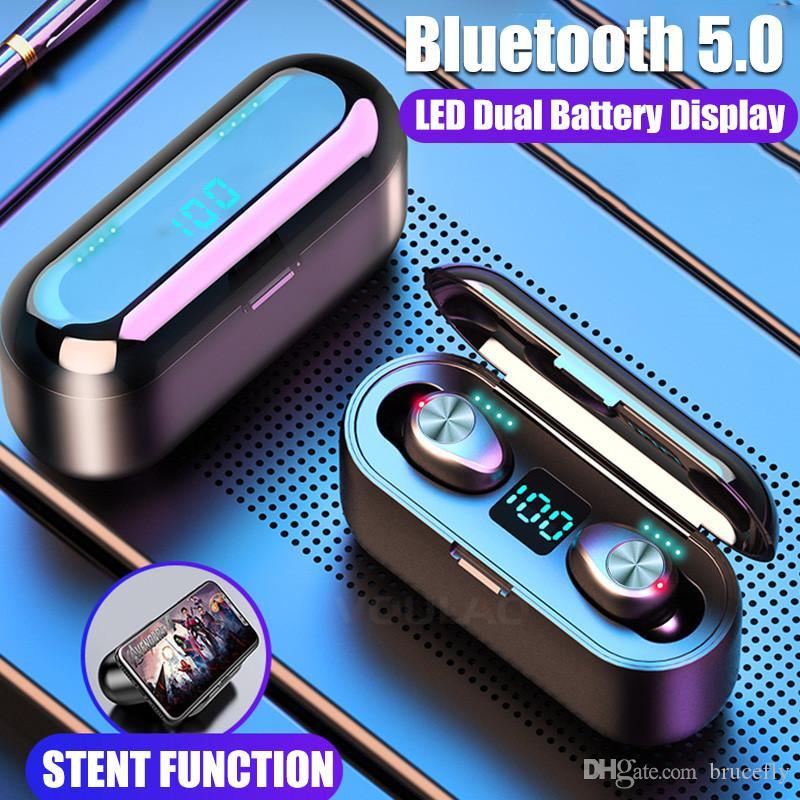F9 TWS Fones de ouvido Sem Fio Bluetooth 5.0 HiFi Fones de ouvido Stereo Bass Headset com Mic 2000mAh Recarregável PK I10 I12 I11 I100 TWS
