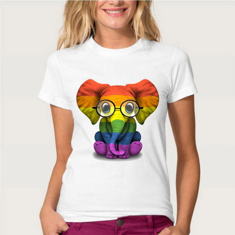 Feminino t-shirt bebê elefante com óculos orgulho arco-íris bandeira verão tops moda fêmea casual tees menina manga curta