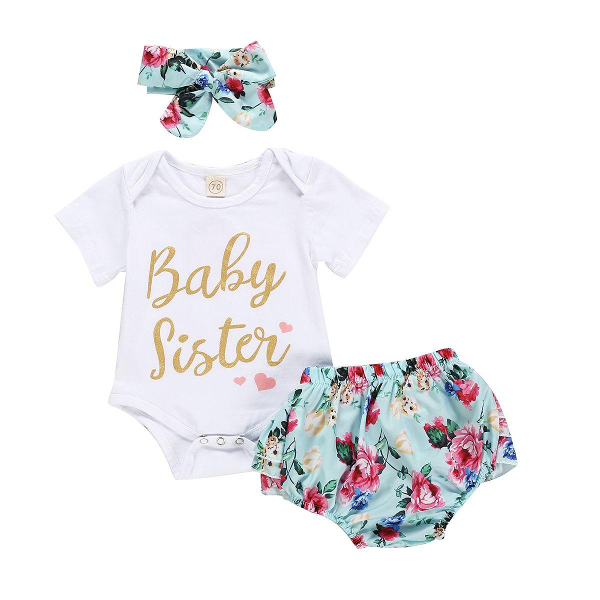 Gajaous Little Sister Summer Short Set Infant Baby Girl Romper Bodysuit+Bloomers Shorts+Headband Outfits Set 0-24M