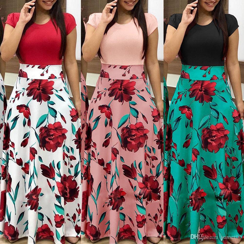 سيدات أزياء مهذبات أزياء رشيقات لباس وردي مطبوعات ... ... نقطة موجة حفلة مطبوعة ... ... تأرجحلباسطويلبالحجم