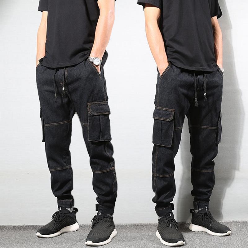 Stile giapponese di moda Mens jeans vintage colore nero Loose Fit Cargo Pants grande tasca affusolati pantaloni Hip Hop Jogger Jeans Uomo