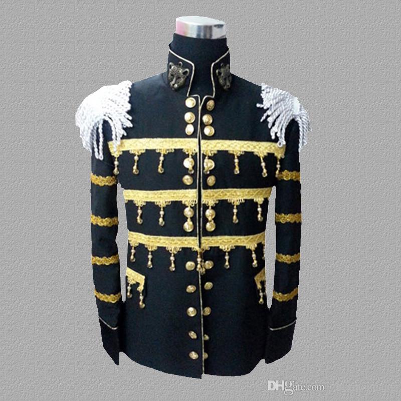 Black blazer men suits designs jacket mens stage costumes for singers Metal sheets clothes dance star style dress punk rock