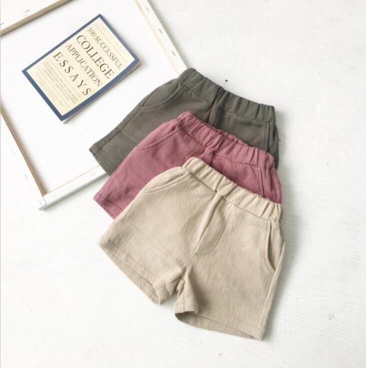Çocuk Şort Bebek Pamuk Keten Rahat Pantolon Erkek Kız Yaz Nefes Elastik Güvenlik Şort Çocuk Butik Külot Giysileri PY319