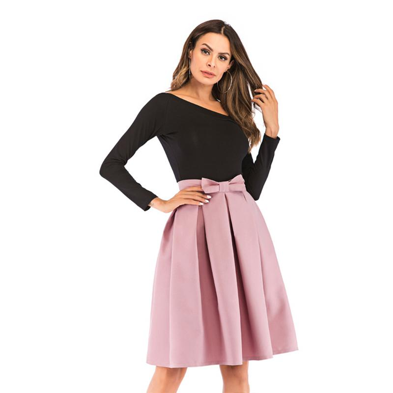 Neophi 2020 Causual Bow Pleated Women Skater Skirts Knee Length SummerHigh Waist Ladies Solid Black Ball Gown Saia S-XXL S8423 CX200701