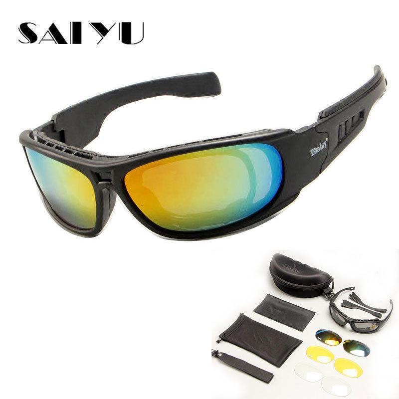 SAIYU Tactical C6 Brille Military Brille Kugelsichere Armee Sonnenbrille Mit 4 Linsen Männer Schießen Brillen Motorrad Gafas
