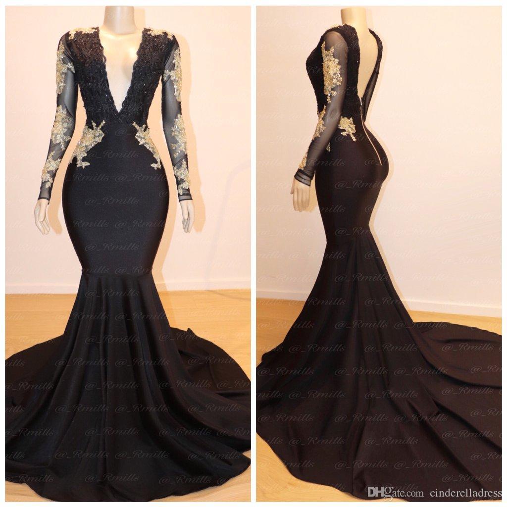 2020 Sexy Czarny Głęboki V Neck Prom Dresses Gold Lace Aplikacja Sweep Pociąg Długie Rękawy Suknie Wieczorowe Plus Rozmiar Backless Pagew