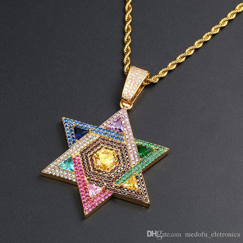 Высокое качество золото серебро цвет Micro Praved красочные CZ Звезда кулон ожерелье с 24 дюймов веревка цепи хороший подарок для друга
