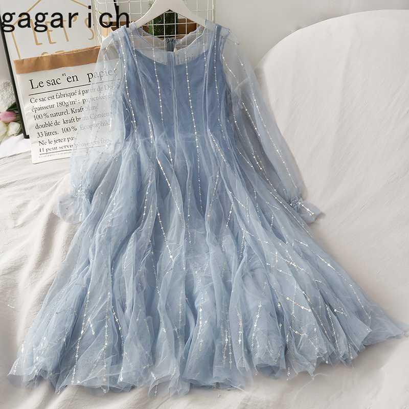 Gagarich 메쉬 패치 워크 기질 드레스 여성 높은 허리 엉덩이 A 라인 Mutlicolor Vestido O 목 플레어 긴 소매 로파 여름