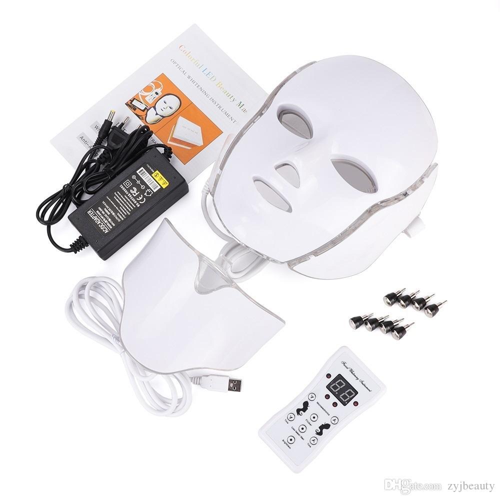 7 لون الصمام الخفيفة العلاج الوجه آلة الجمال الصمام قناع الرقبة الوجه مع microlurent لتبييض الجلد جهاز الشحن مجانا
