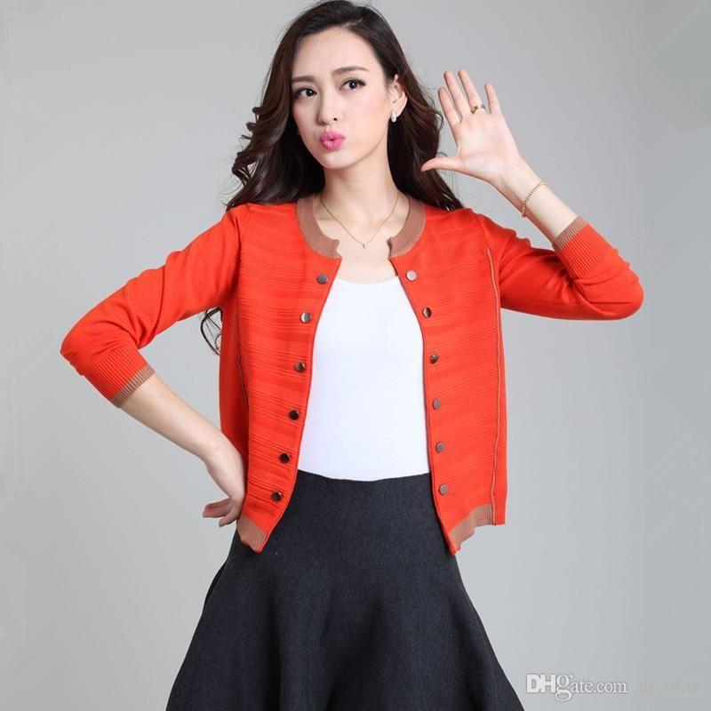 HanOrange 2018 resorte de la capa de Cardigan Otoño Corto Femenino Mujeres camiseta de manga larga rosca Botones punto Tamaño suéter S-3XL Plus