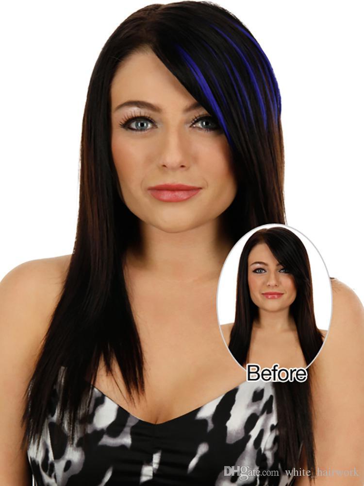 Новое прибытие челка pick-dye постепенное изменение реалистичные бесшовные патч разъем волос цвет волос прямые волосы патч