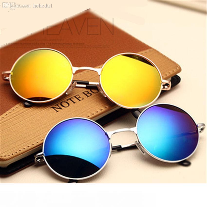 Toptan-Klasik Moda Vintage Güneş gözlüğü yuvarlak Kadınlar Kadın Güneş Vintage Çember erkekleri gözlük Dişil gözlüğü güneş gözlüğü gözlük