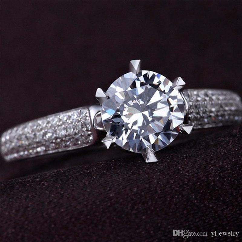 Original Real Solid 925 Silver Ring Inlay 6mm Natural Cubic Zircon Diamond Engagement Ring Bride Band Wedding Jewelry Gift XR019