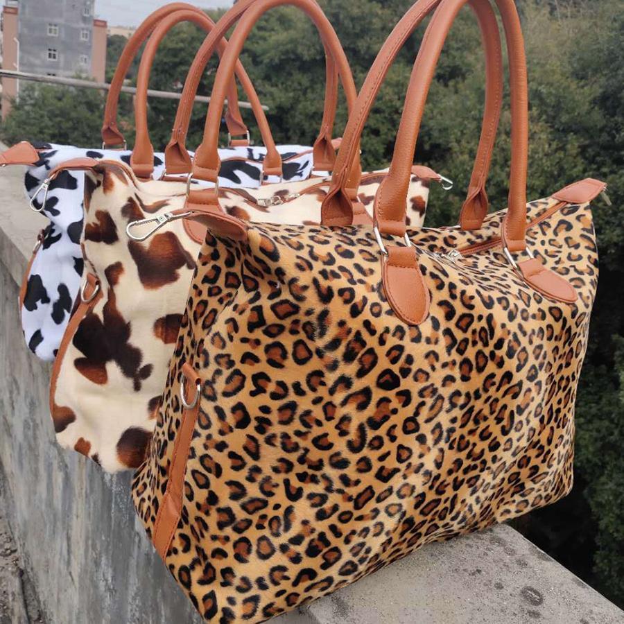 Leopard vaca fin de semana bolso de gran capacidad de asas del viaje de yoga Handle Deportes Bolsas fin de semana Piel de almacenamiento de maternidad bolsa totalizadores 17 pulgadas RRA3164N