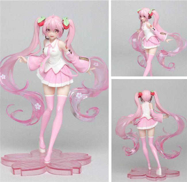 18cm Anime Pink Hatsune Miku Sakura Sexy Girls PVC Action Figures toys Anime figure Toys For Kids children Christmas gifts T200704