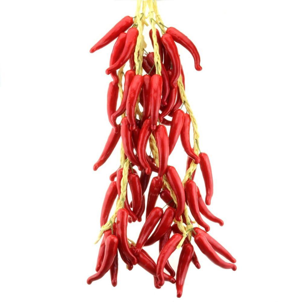 Gresorth Fake Vegetable Bunch Artificial Red Pepper Decoration for Home Kitchen Shop Party Show Food Display - 5 PCS