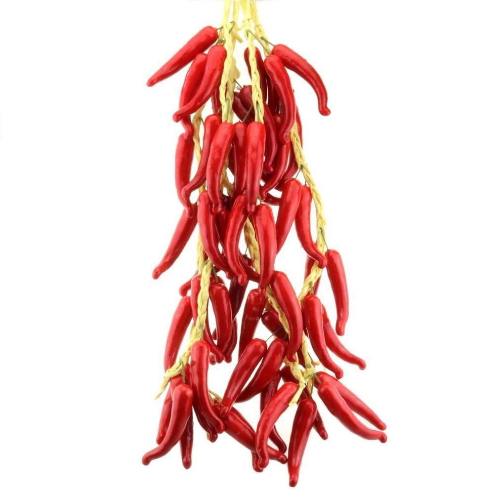 Gresorth Faux légumes Bouquet Artificial Red Pepper Décoration Party Accueil Cuisine Boutique VITRINE Alimentation - 5 PCS