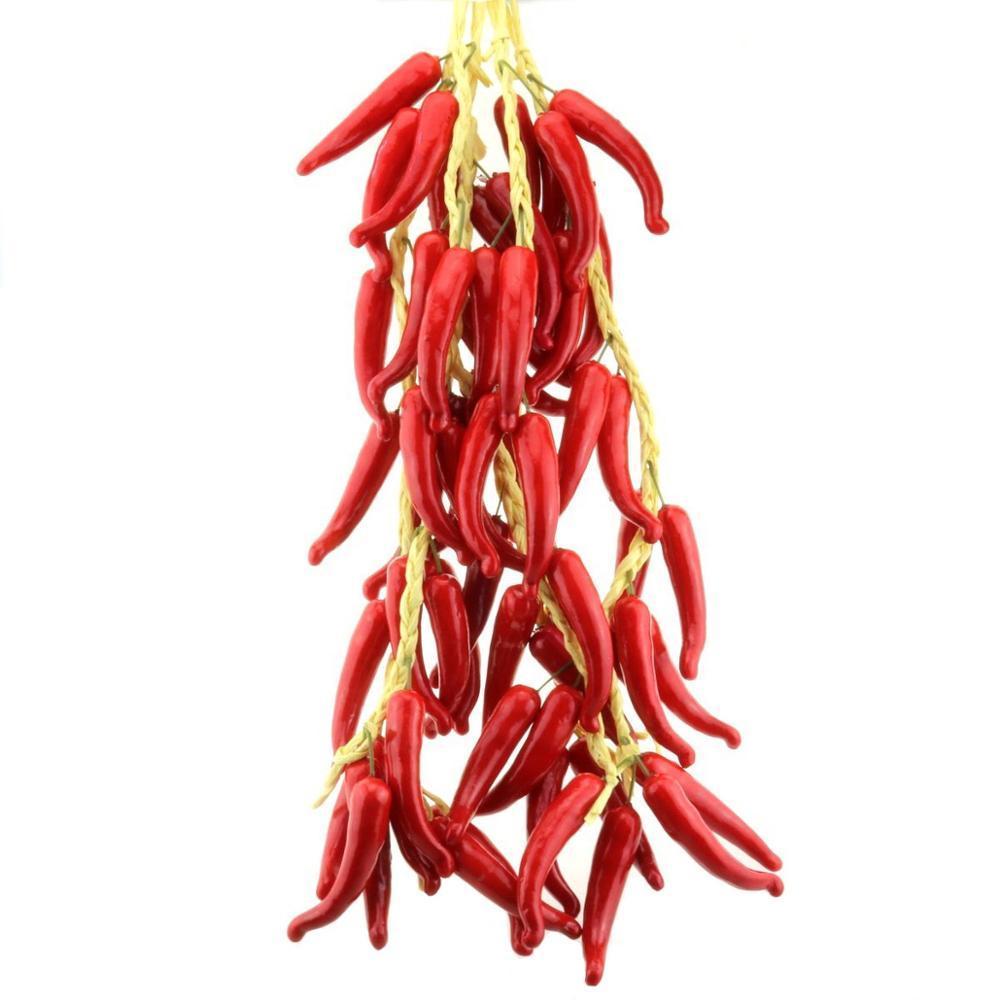 Gresorth Falso vegetal Grupo Artificial Decoração da pimenta vermelha para Home Kitchen Shop Festa Programa Food Display - 5 PCS