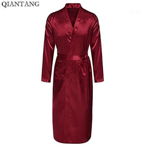 Burgundy Mens Robe Hot Sale Faux Silk Kimono Bath Gown Bathrobe Nightgown Sleepwear Hombre Pijama Size S M L XL XXL ZhM0551