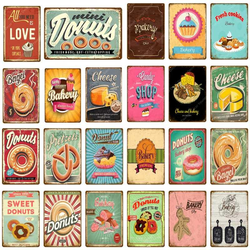 Donuts Retro Metal Tin Signs Vintage Plate Candy Shop Wall Decor Poster
