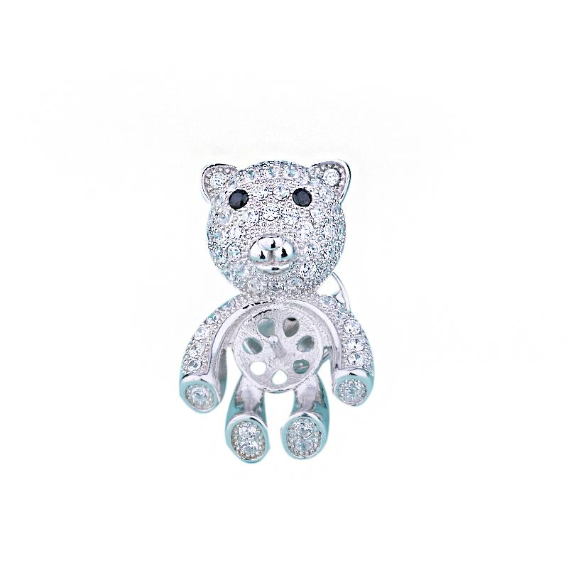 Sterling Silver 925 Broche Cubic Zirconia CZ Acentos Semi Mount Broche Setting Little bear Jóias Finas Venda Quente