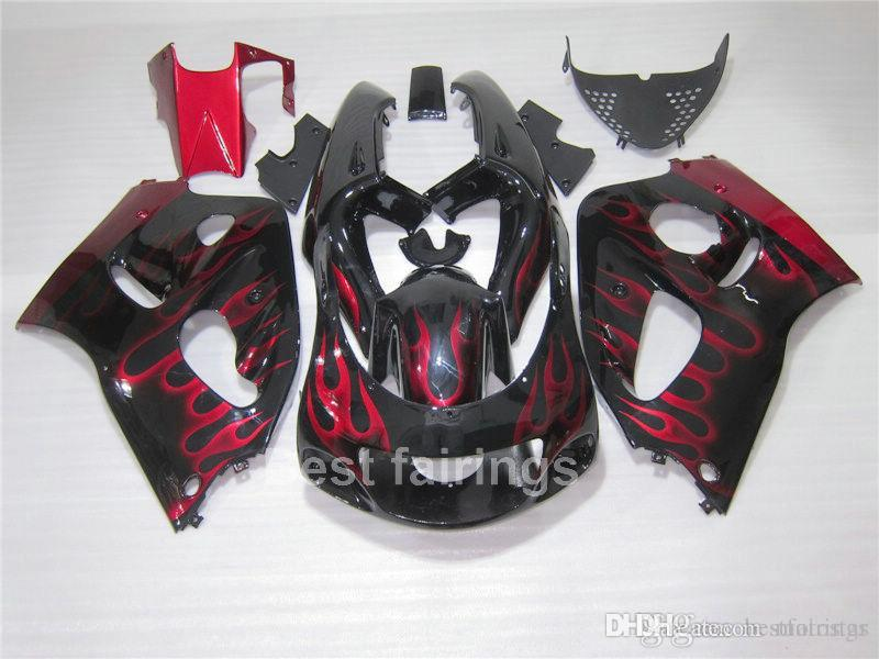 ZXMOTOR High grade fairing kit for SUZUKI GSXR600 GSXR750 SRAD 1996-2000 black red flames GSXR 600 750 96 97 98 99 00 fairings TT54