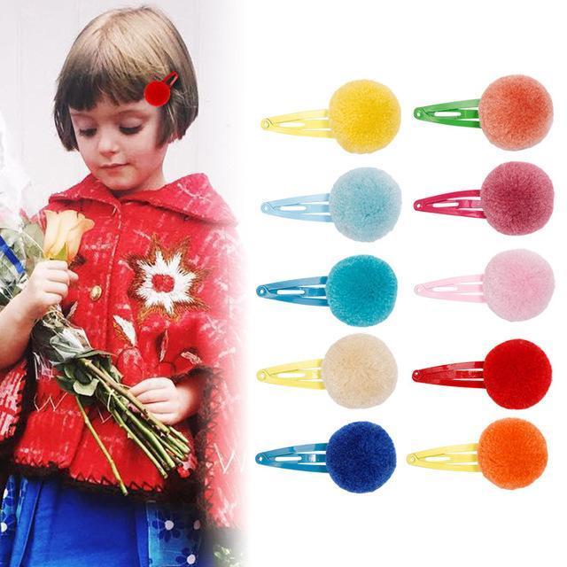 Enfants Pom Pom Barrettes Bonbons Couleur Mode enfants Boutique Accessoires cheveux petites filles arc-en-Barrettes