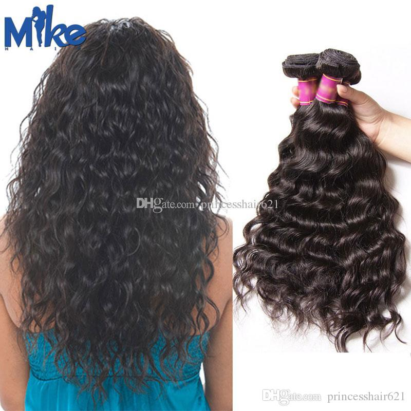Mikehair Indian Natural Wave Hair Bundles Braziliaanse Maleisische Peruviaanse Mongoolse Raw Menselijk Haar 4 stks Bundel Deal 8-30 inch Dyable Hair Weave