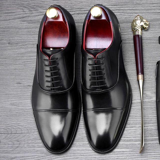 Moda hombre vestido formal zapatos de boda cuero genuino cuarto Brogue Oxfords Goodyear hombres punta redonda Welted pisos