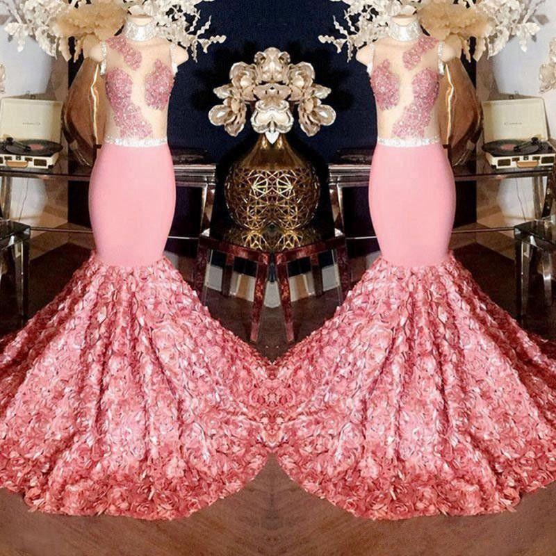 Lindo rosa sereia vestidos de baile 2019 sheer top com apliques 3d rose flower sweep trem vestidos de noite cocktail party formal dress