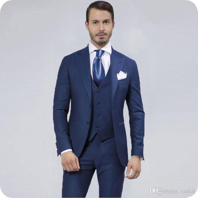 Navy Blue Men костюмы итальянского Groom Wedding Wear Остроконечного отворот Vintage Жених Tuxedos Slim Fit шафер блейзеры 3шт Костюм Homme Ternos