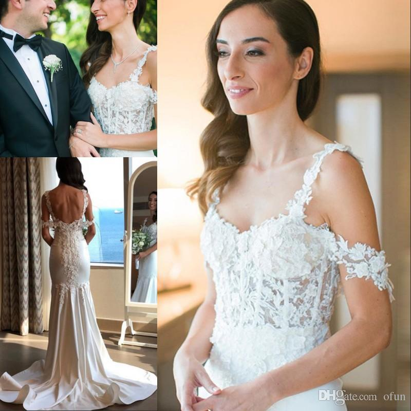 Splendida Spaghetti Strap Appliques Mermaid Abito da sposa Boho Off The Shoulder Backless Lunga Taffetà abiti da sposa Abiti da sposa