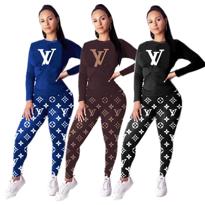 Marque de luxe Femmes Survêtement à manches longues T-shirt T-shirt + pantalon leggings deux pièces Set Tenues Sweat printemps causales sport costume INS