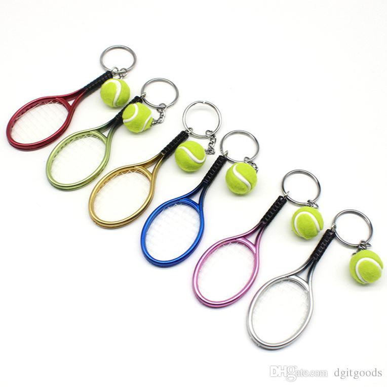 سلاسل محاكاة تنس سلسلة المفاتيح البلاستيكية مضرب تنس كيرينغ مفتاح للنساء بنات حقيبة هدية قلادة الديكور الإبداعية 6 ألوان للاختيار