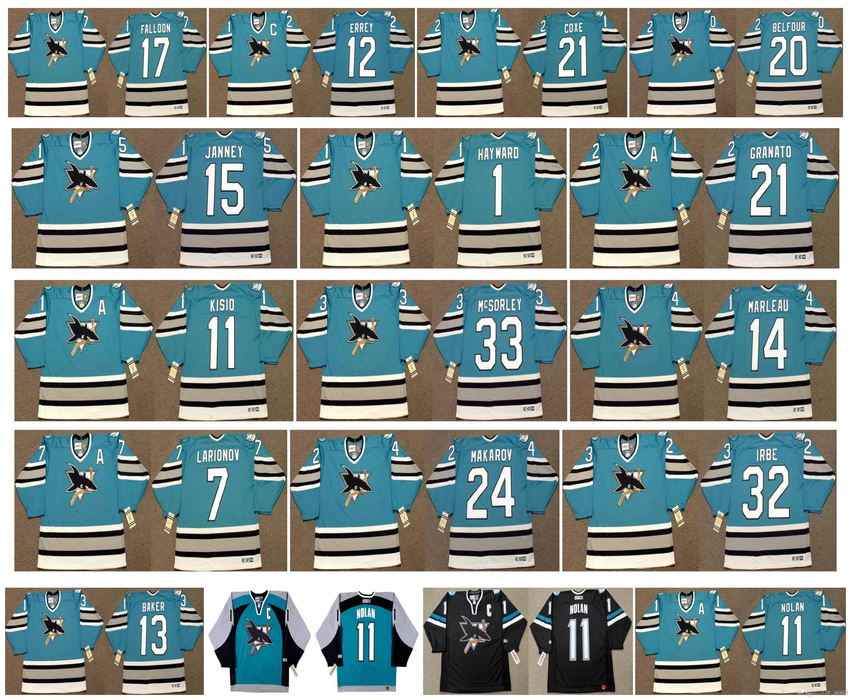 Vintage San Jose Sharks Jersey 32 ARTURS IRBE 1 HAYWARD 21 GRANATO 17 PAT FALLOON 12 BOB ERREY 21 CRAIG COXE 20 BELFOUR 13 BAKER CCM Hockey