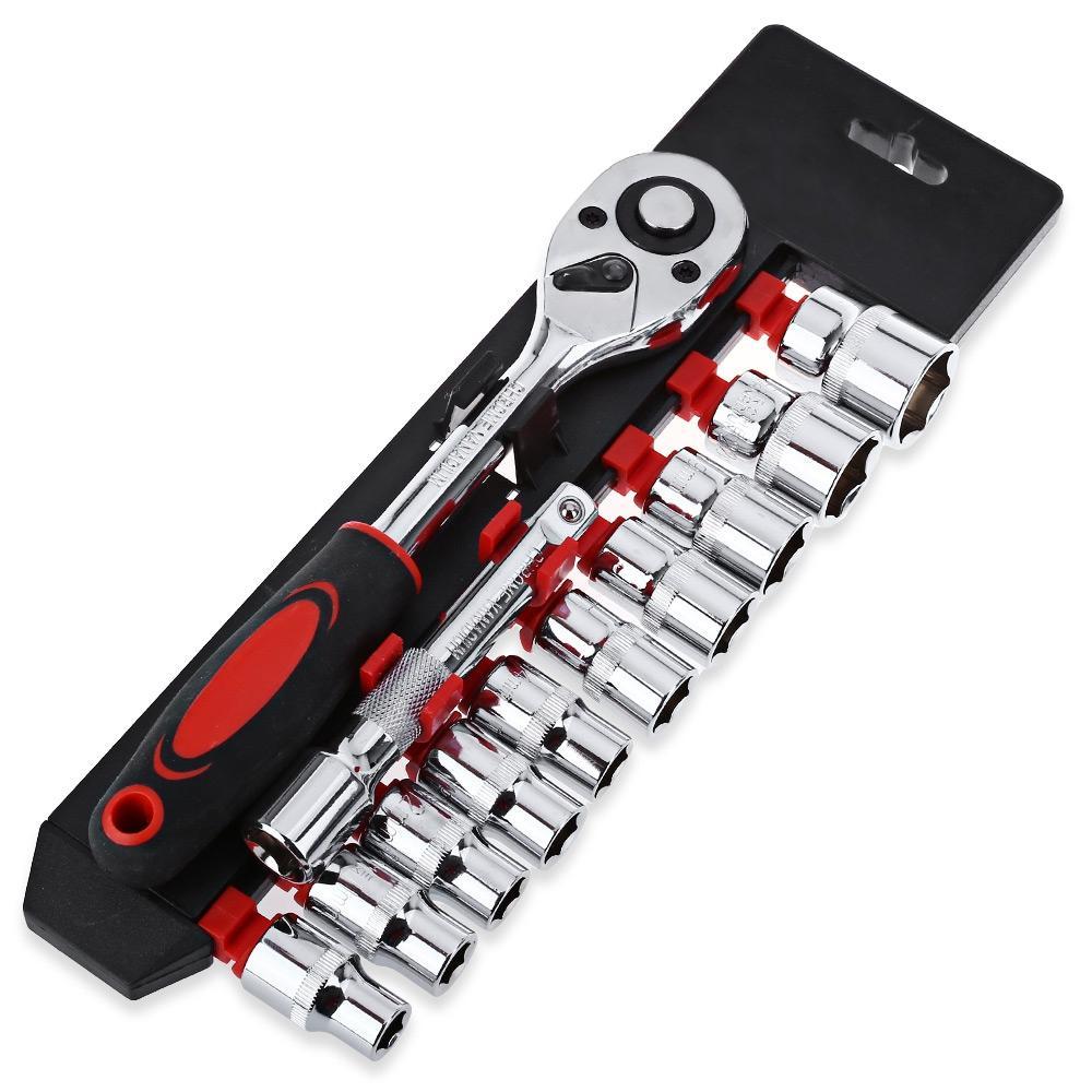 12pcs 1/4-Inch ( 6.3MM ) Socket Set Ratchet Wrench Extension Rod Combo Tools Sheet Metal Tools Set Car Auto Repairing Tools