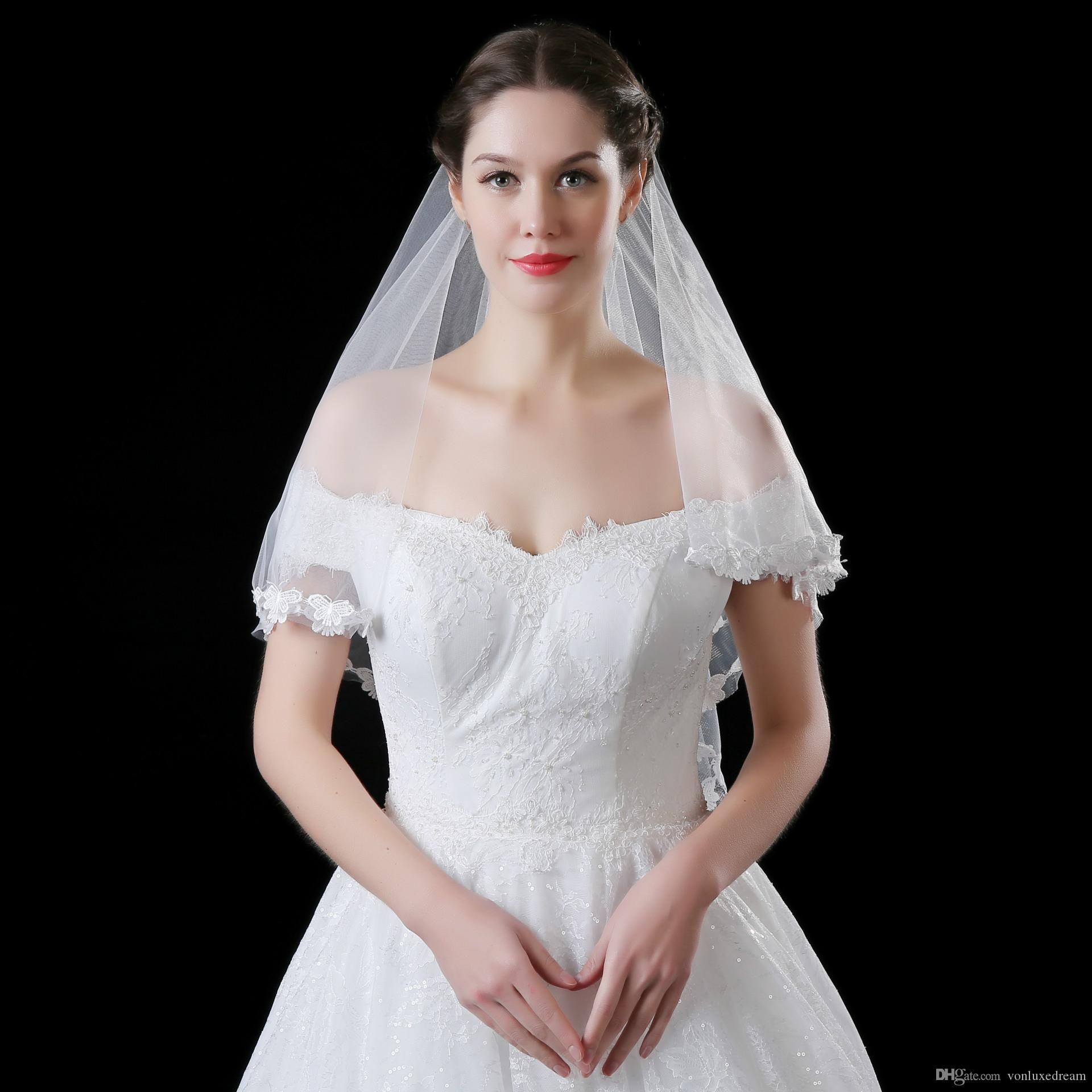 Güzellik Dantel Aplike Bir Katmanlar Gelin Duvağı Sıcak Satış Yüksek Kalite Kısa Gelin Veil Düğün Aksesuarları velo de novia