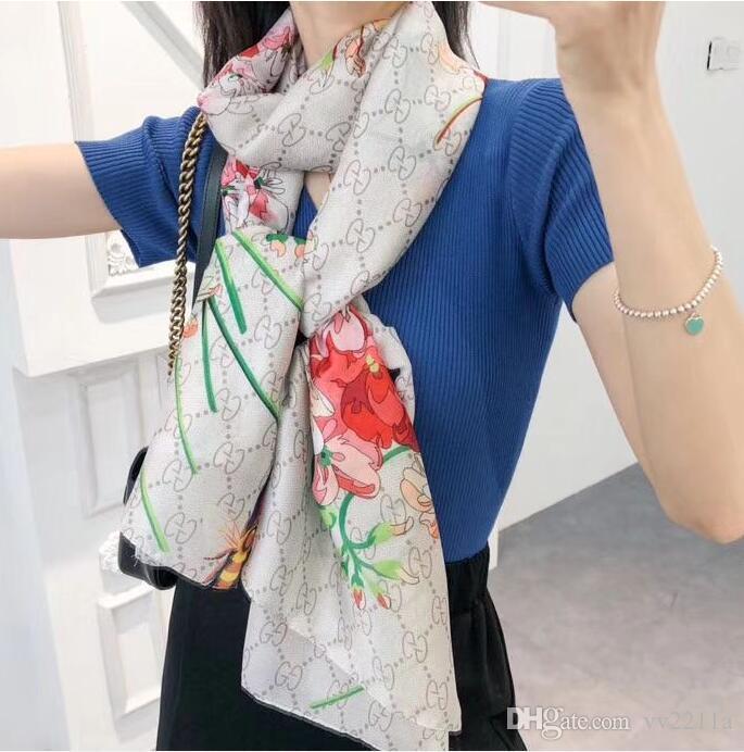 Moda Lenços por Mulheres Imprimir Silk Scarf Feminino 180x90cm longo Xaile Bandana para grande cabeça Hijab Cachecóis para senhoras