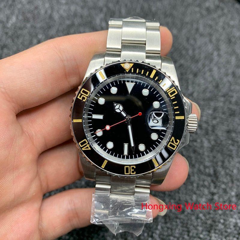 40мм Мужские автоматические механические часы желтый черный керамический ободок Стальной корпус сапфировое стекло WristWatch Нет часы мужчины