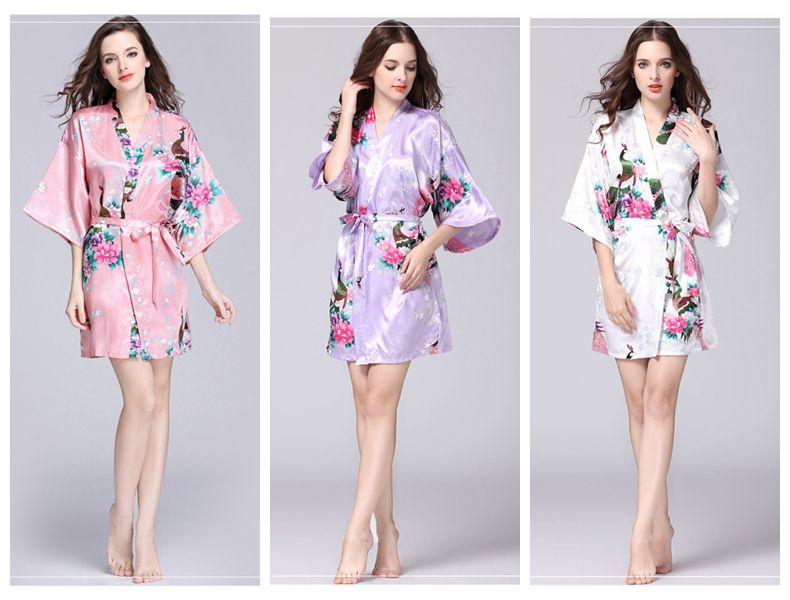 꽃 기모노 여름 소녀 숙녀 잠옷 (12 개) 스타일 실크 잠옷 여성 나이트 가운 V 넥 pjms을 pajams